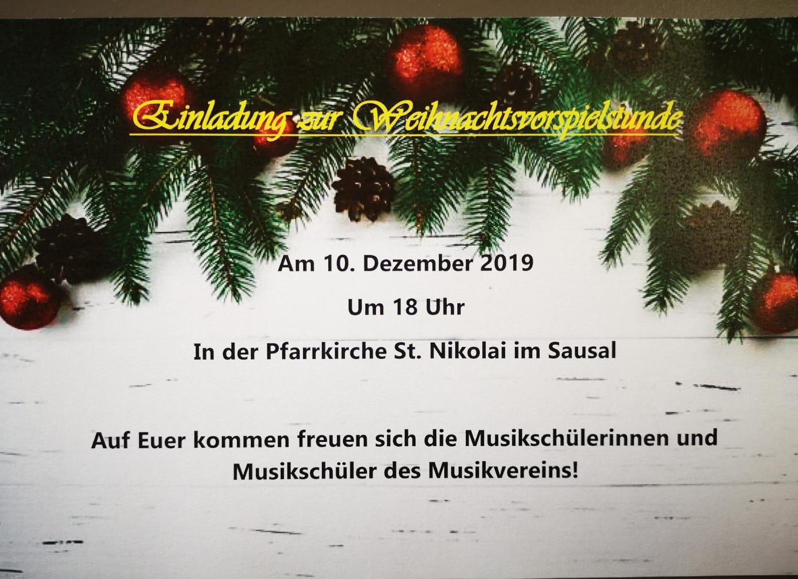 Einladung zur Weihnachtsvorspielstunde